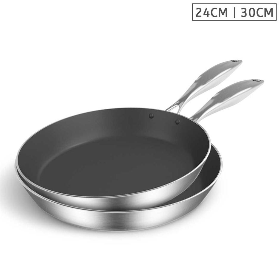 SOGA SS Fry Pan 24cm 30cm Frying Pan Induction Non Stick Interior