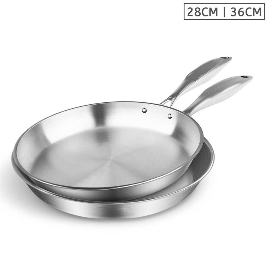 SOGA SS Fry Pan 28cm 36cm Frying Pan Top Grade Induction Cooking