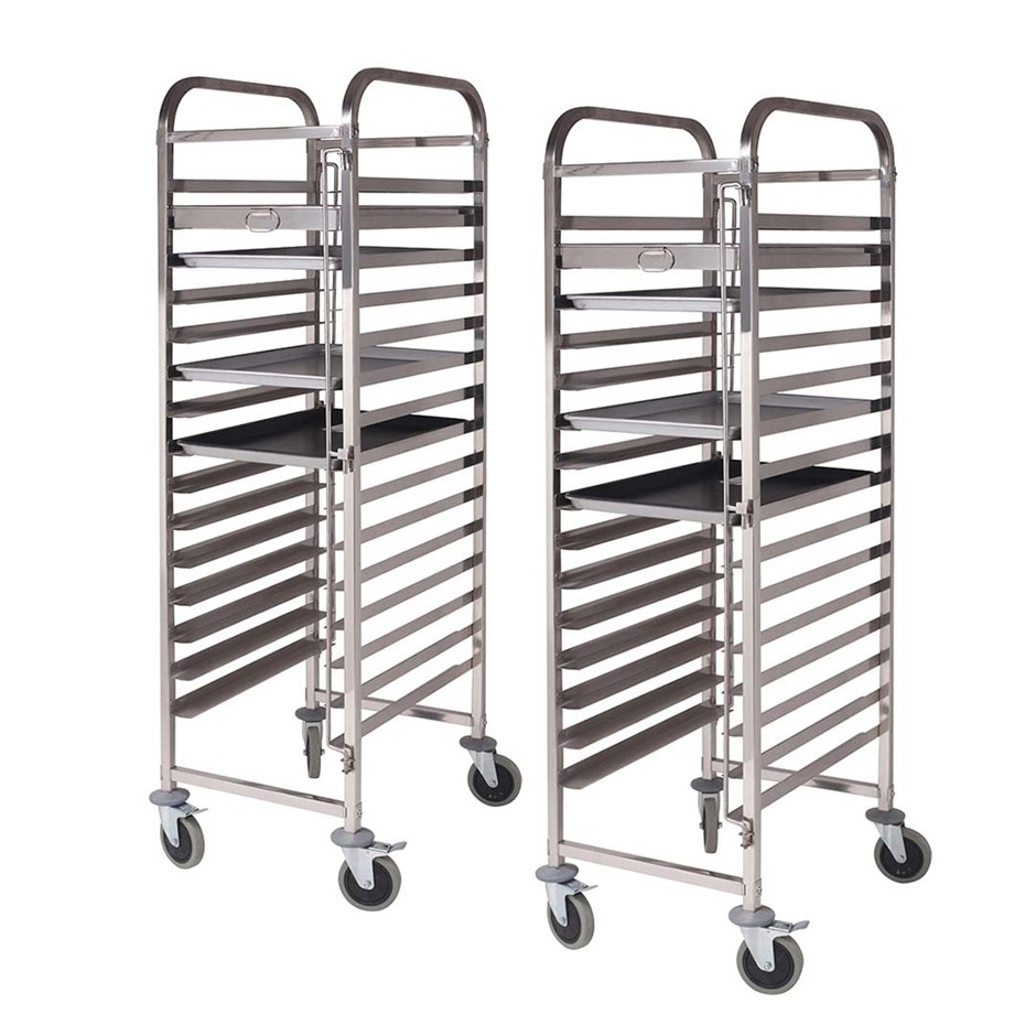 SOGA 2X Gastronorm Trolley 16 Tier SS Cake Bakery Suits 60*40cm Tray