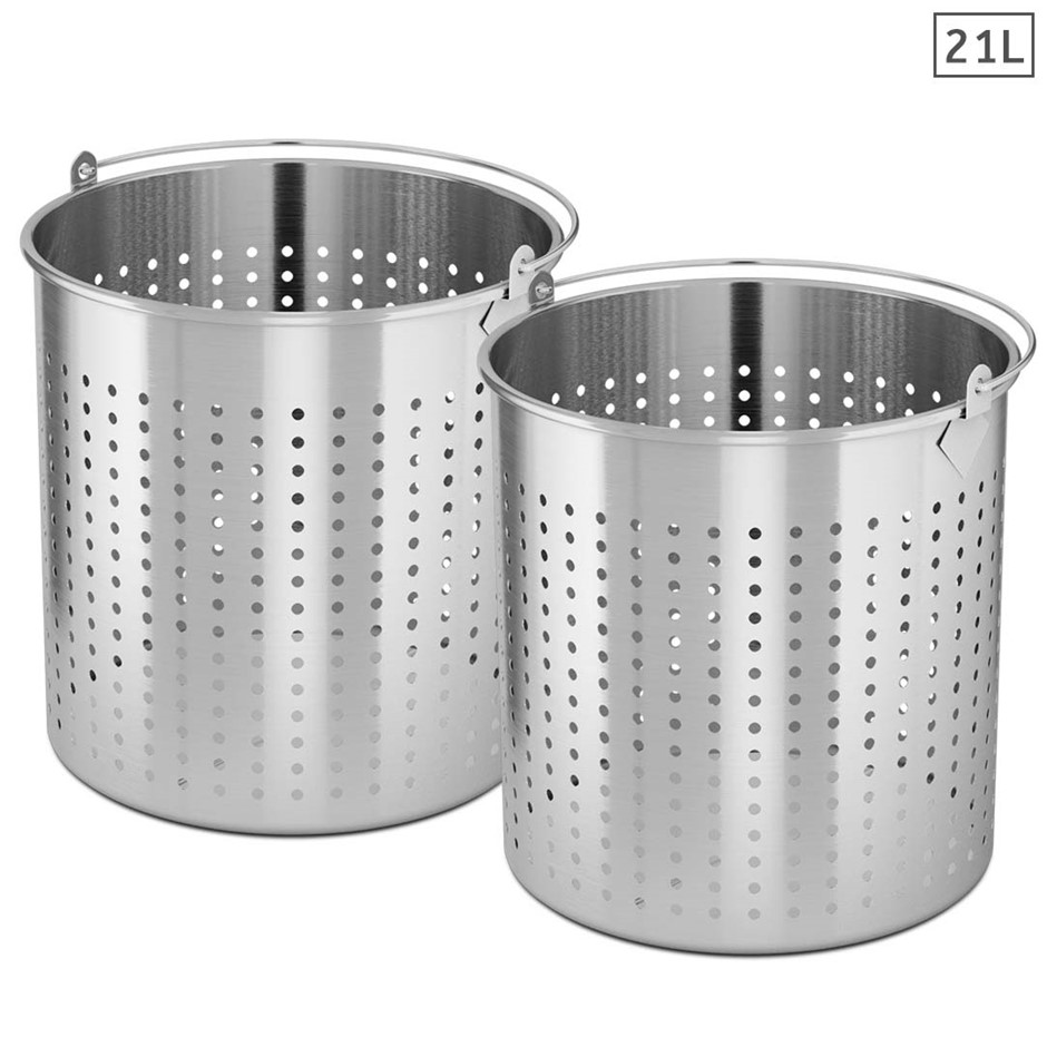 SOGA 2X 21L 18/10 SS Perforated Stockpot Basket Pasta Strainer W/ Handle