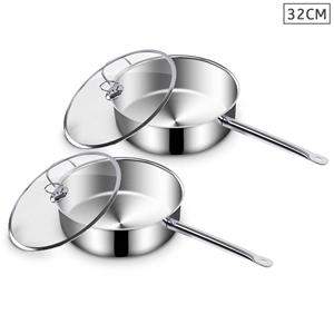 SOGA 2X 32cm SS Saucepan W/ Lid Inductio