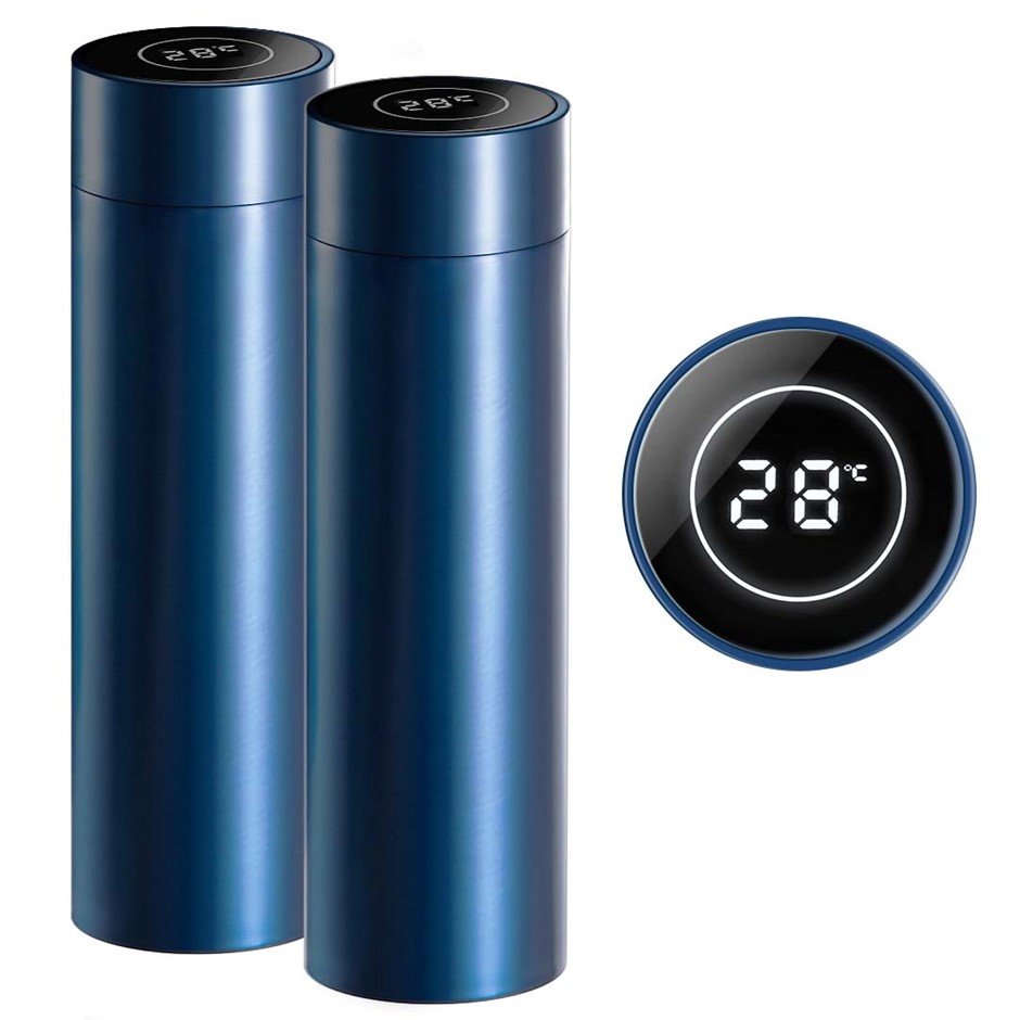 SOGA 2X 500ML SS Smart LCD Thermometer Display Bottle Vacuum Flask Thermos