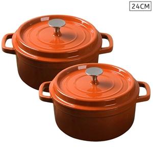 SOGA 2X Cast Iron 24cm Enamel Porcelain