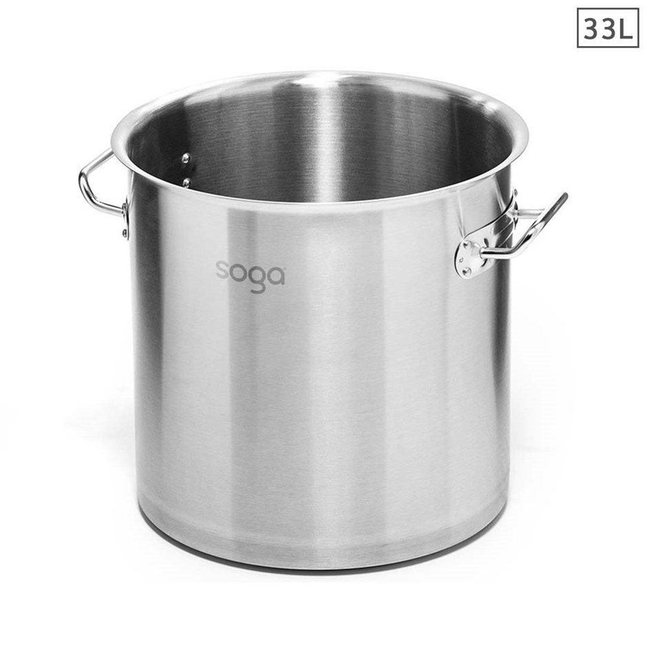 SOGA Stock Pot 33L Top Grade Thick Stainless Steel Stockpot 18/10 W/out Lid