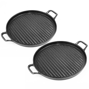 SOGA 2X 30cm Ribbed Cast Iron Frying Pan