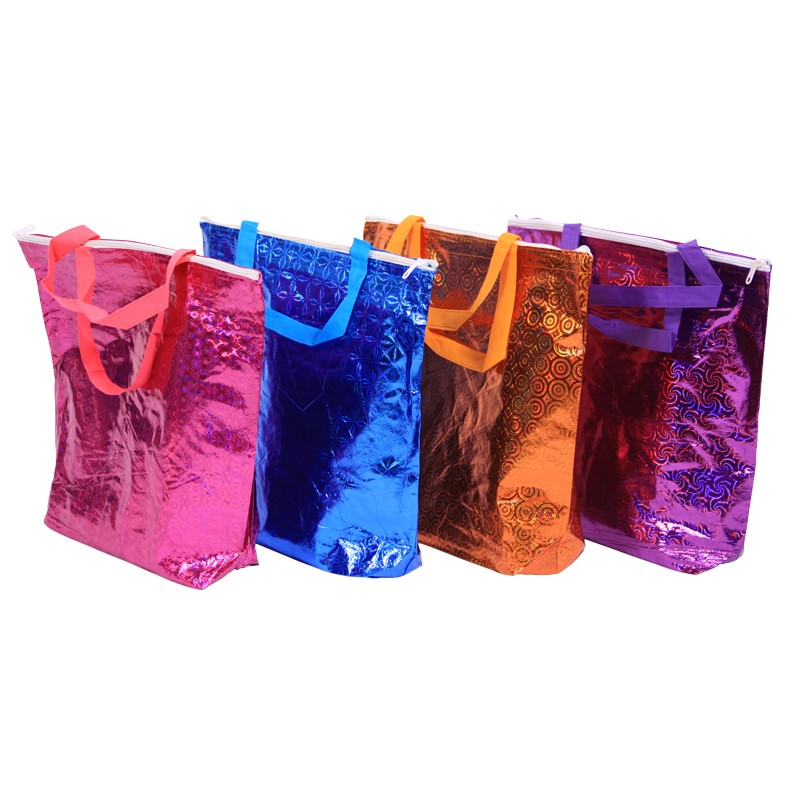 12 x Gift Bags Extra Large - 40x43cm Holographic Purple, Pink, Orange, Blue