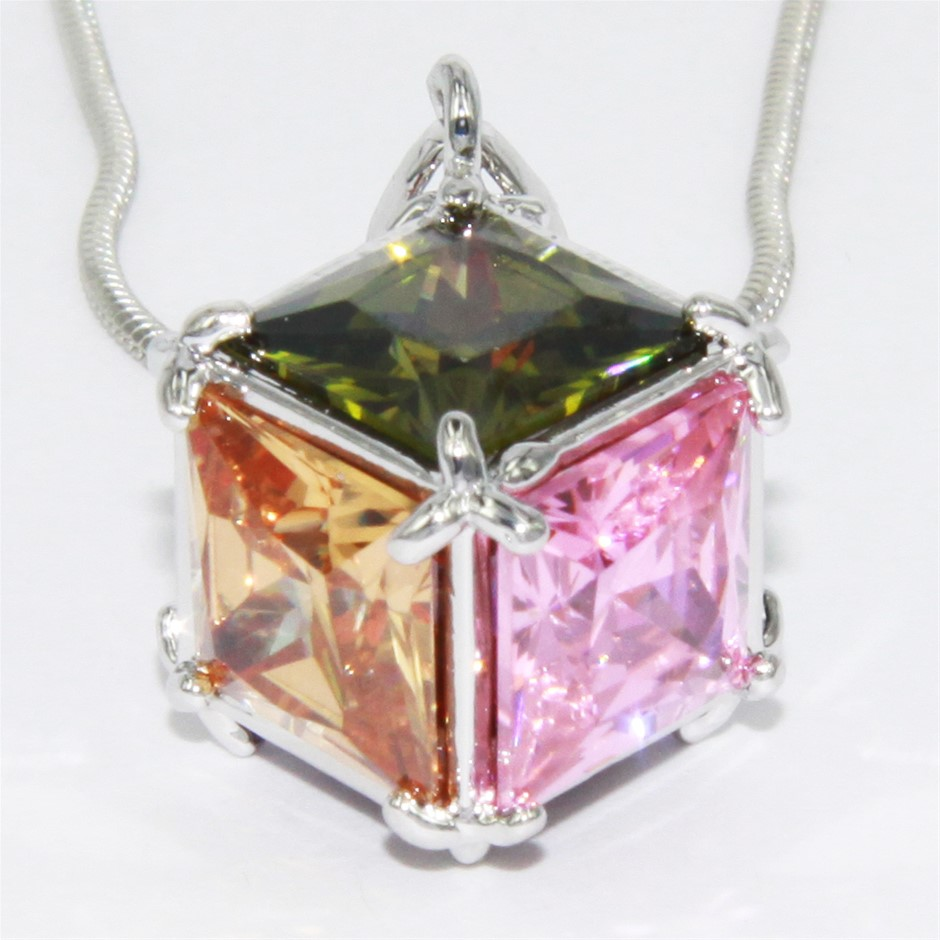 NECKLACE - multi coloured cubic zirconia stones made into a cube