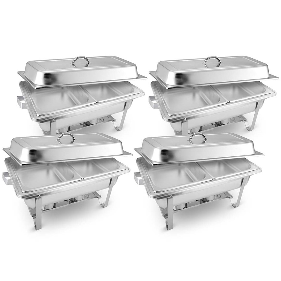 SOGA 4X Stainless Steel Chafing Food Warmer Catering Dish 2x4.5L Dual Trays