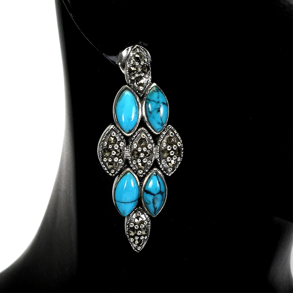 Spectacular Genuine Turquoise Drop Earrings