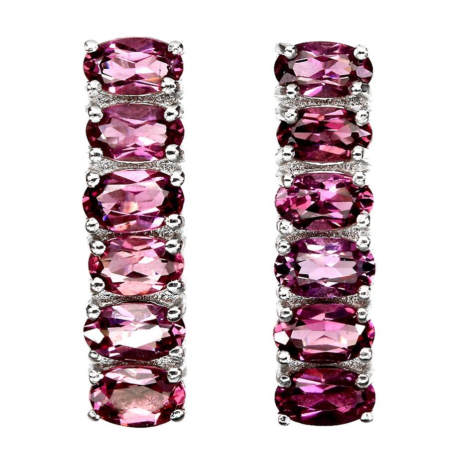 Beautiful Genuine Pink Rhodolite Garnet Huggie Earrings