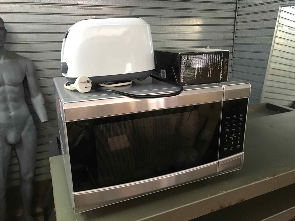 Microwave Oven, Toaster, and Alarm Clock