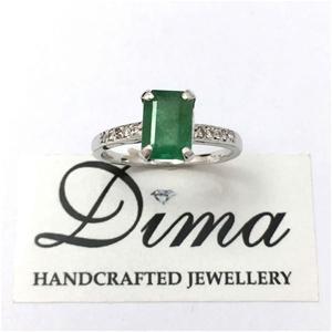 18ct White Gold, 1.79ct Emerald and Diam