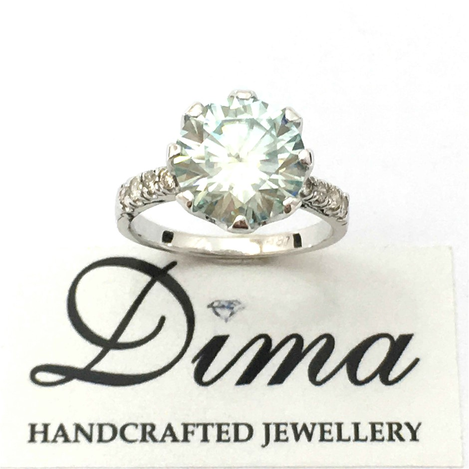 18ct White Gold, 3.74ct Moissanite and Diamond Ring