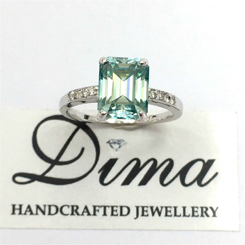18ct White Gold, 2.75ct Emerald and Diamond Engagement Ring