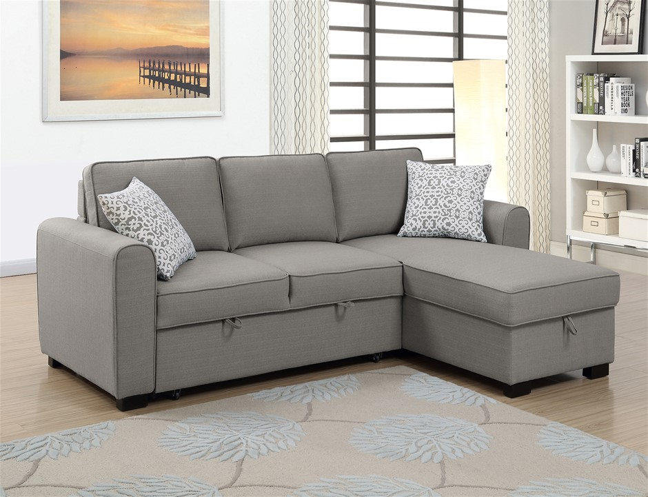 Jessie LHF Chaise With Sofabed & Storage - Storm