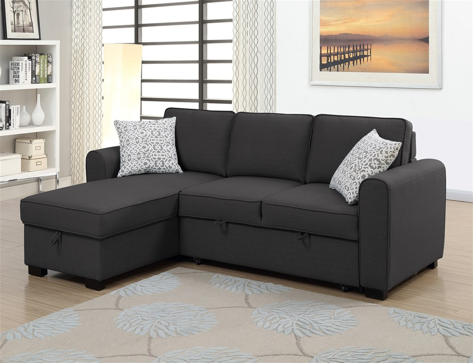 Jessie RHF Chaise With Sofabed & Storage - Charcoal