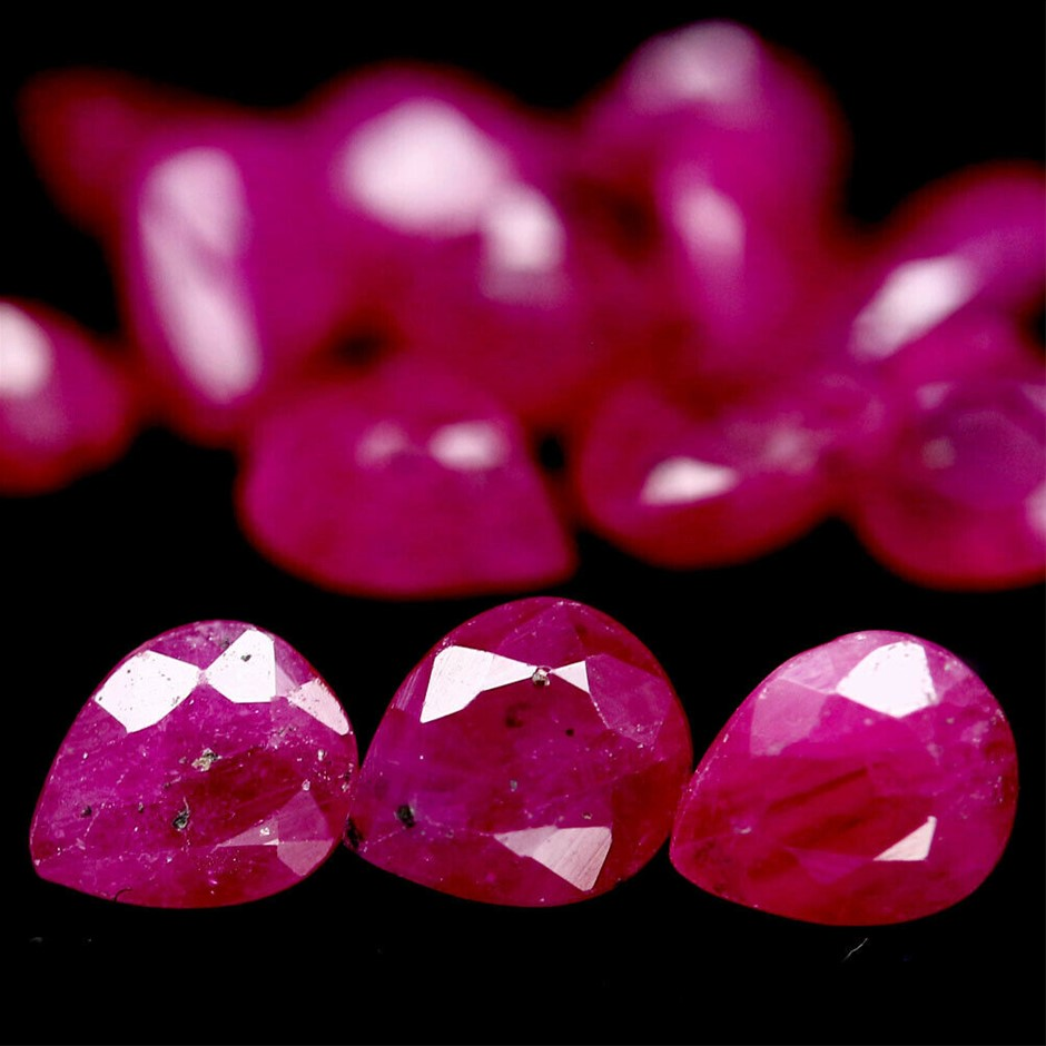 6.74ct. Genuine Pear Facet Heat Only Pink Rubies 14 Piece