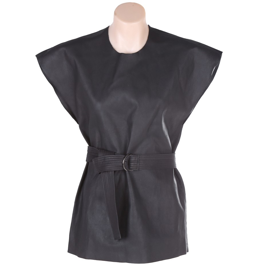 BASSIKE Leather Belted Tank. Size 0, Colour: Charcoal. ORP: $795 Buyers Not