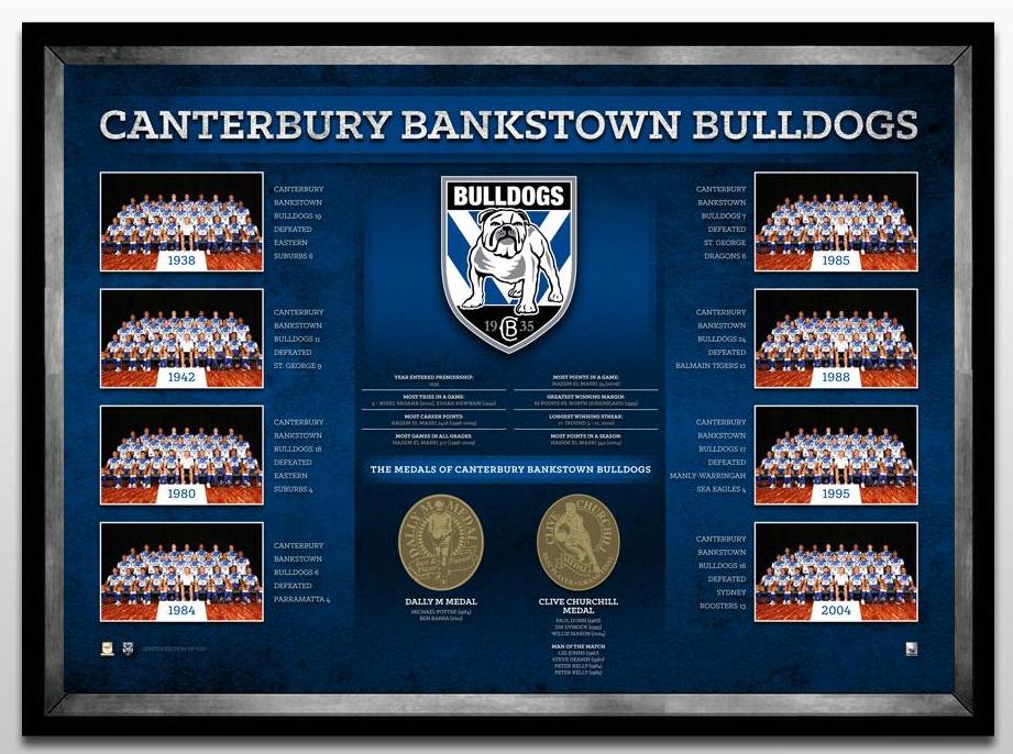 Canterbury Bulldogs Historical Print Framed