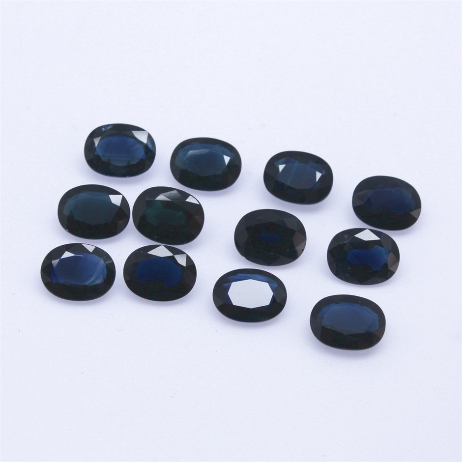 Twelve Loose Oval Shaped Blue Sapphires 11.75ct