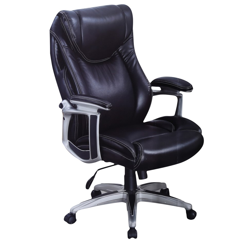 TRUE INNOVATIONS Mobile Executive Leather Arm Chair, Black, Height Adjust a