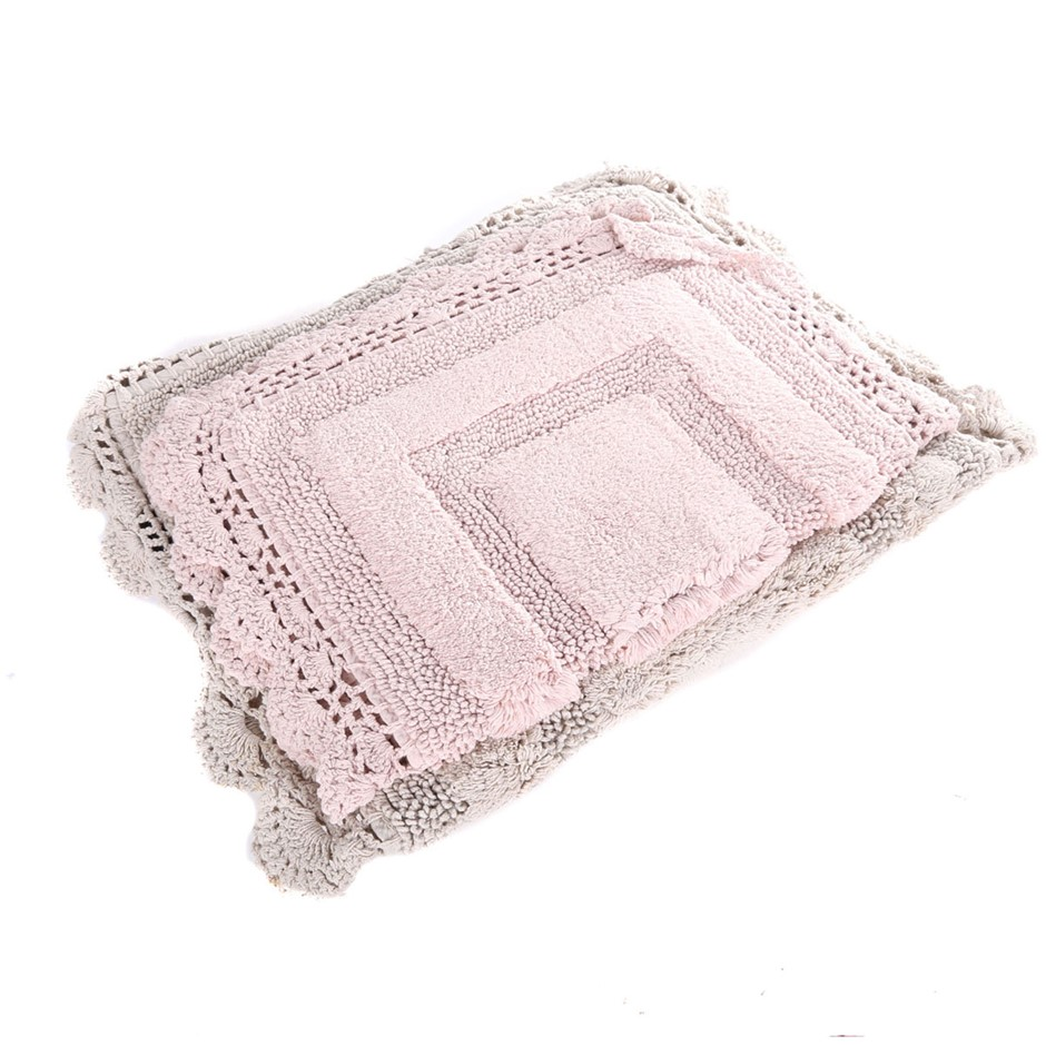 FRENCH CONNECTION HOME 2pk Cotton Crocheted Bath Rugs, (51cm x 81.5cm & 43.