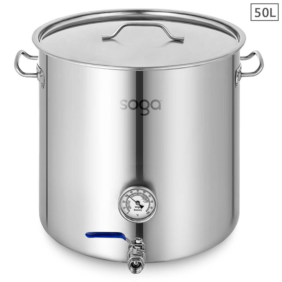 SOGA Stainless Steel Brewery Pot 50L With Beer Tap 40*40cm