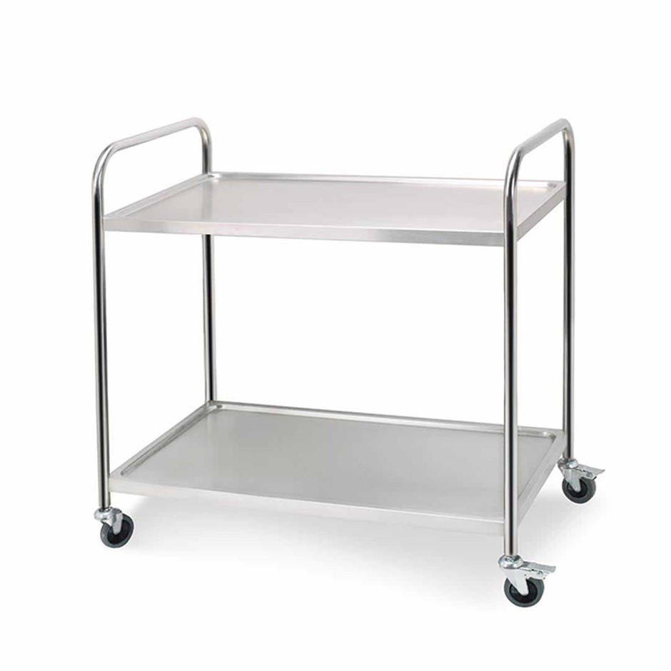 SOGA 2 Tier S/S Kitchen Dining Food Cart Trolley Utility Rnd 81x46x85cm Sml