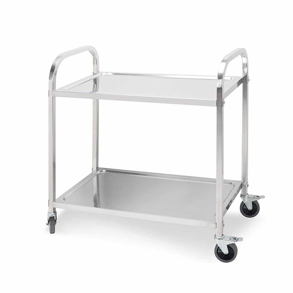 SOGA 2 Terr S/S Kitchen Dining Food Cart Trolley Utility - 85x45x90cm Med
