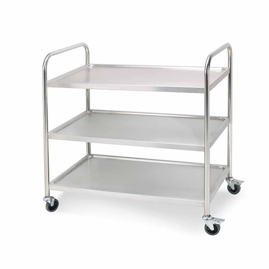 SOGA 3 Tier S/S Kitchen Dining Food Cart Trolley Utility Rnd 81x46x85cm Sml