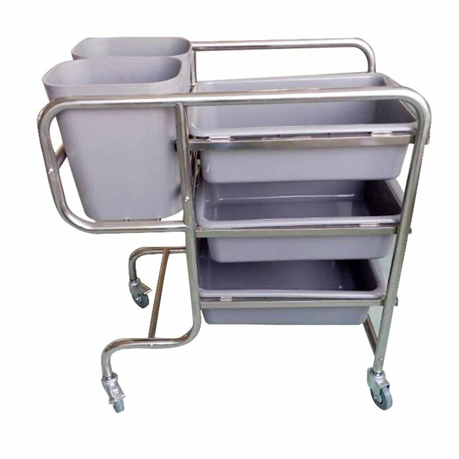 SOGA 3 Tr Food Trolley Waste Cart 5 Buckets Kitchen Utility 81x43x87cm Rnd