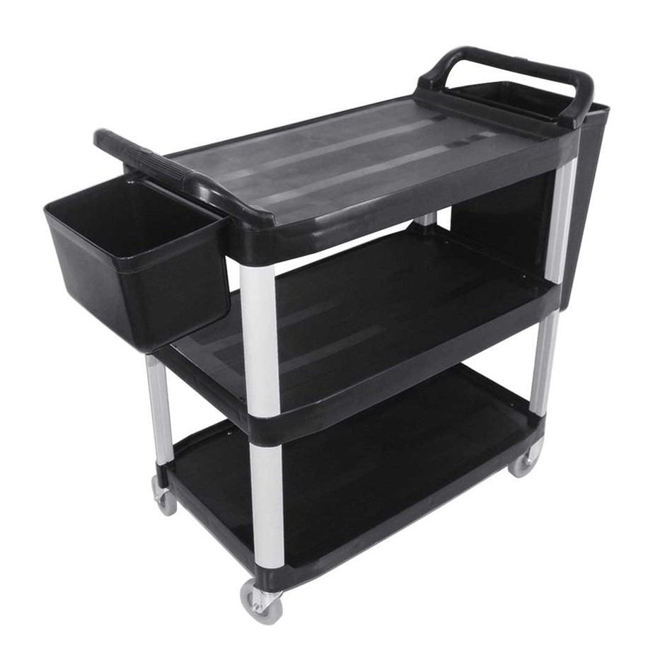 SOGA 3 Tr Food Trolley Waste Cart W/Two Bins Stge Kitchen Blk 83x43x95cm S