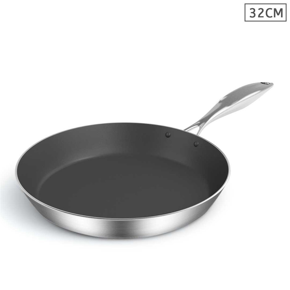 SOGA Stainless Steel Fry Pan 32cm Induction Frypan Non Stick Interior