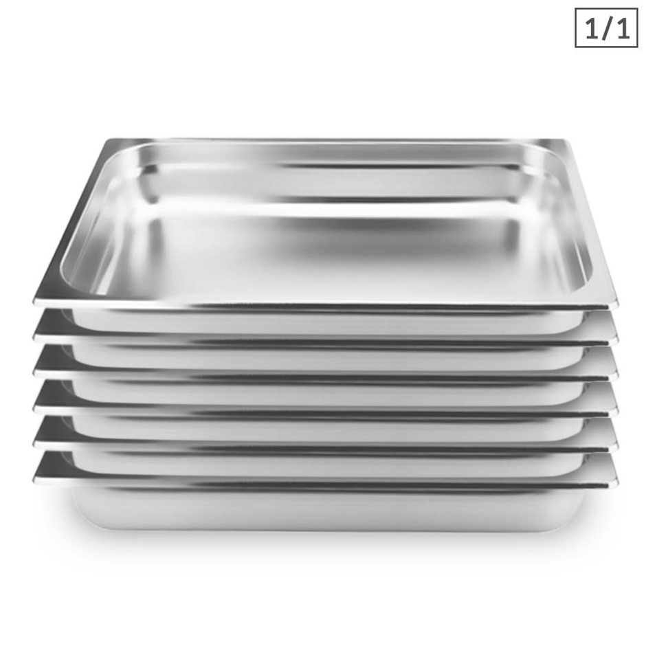 SOGA 6X Gastronorm GN Pan Full Size 1/1 GN Pan 10cm Stainless Steel Tray