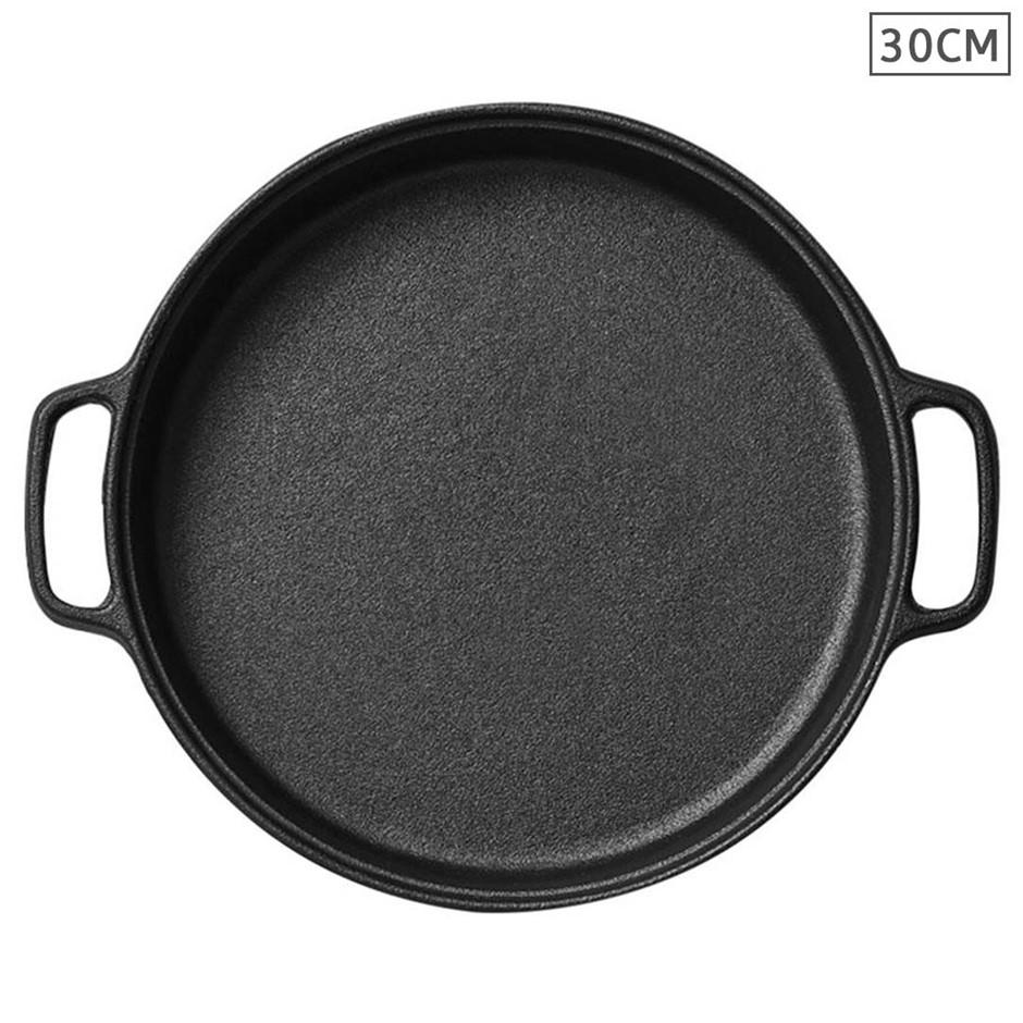 Cast Iron 30cm Frying Pan Skillet Non-stick Coating Steak Sizzle Platter