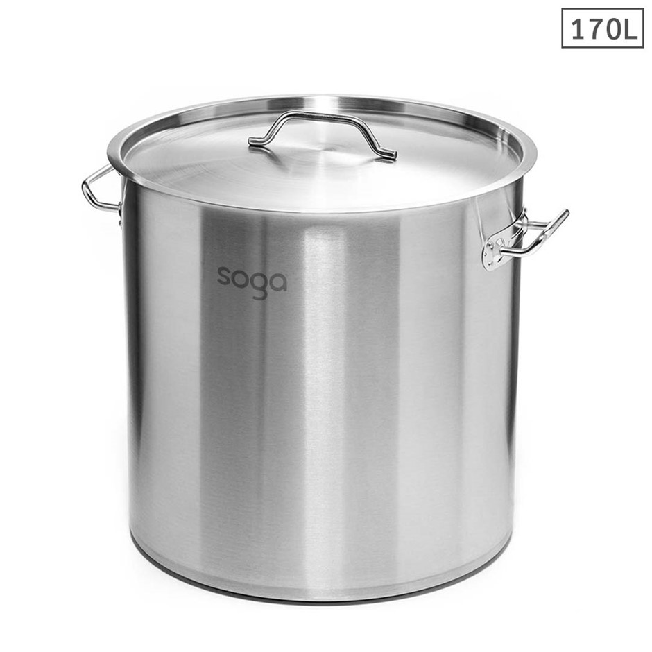 SOGA Stock Pot 170Lt Top Grade Thick Stainless Steel 60CM 18/10 RRP $645