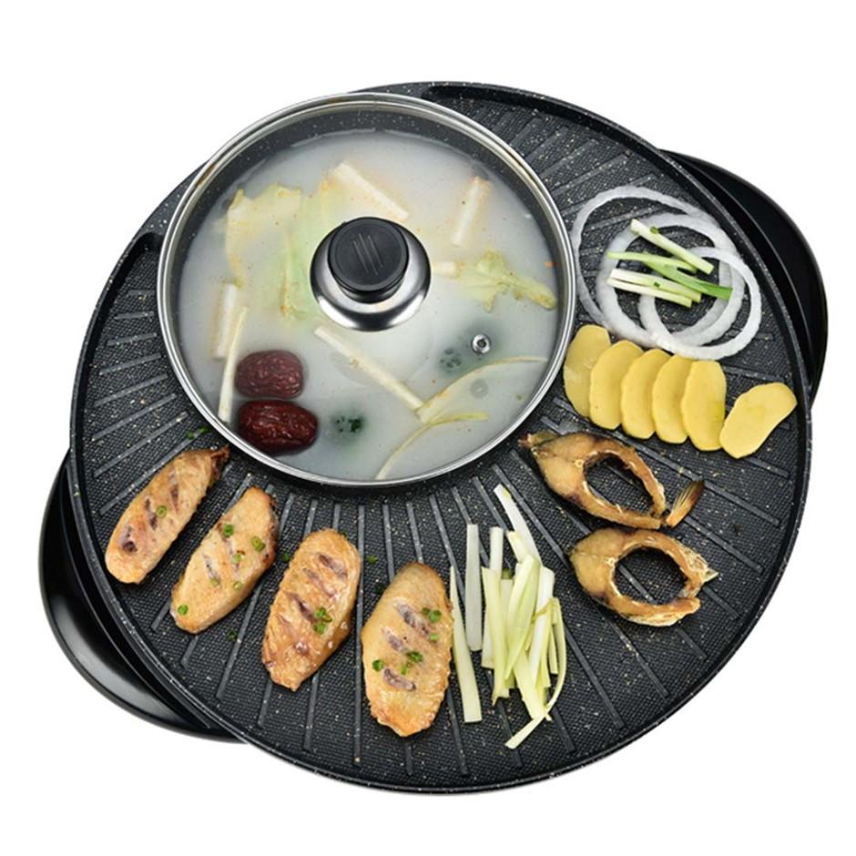 SOGA 2 in 1 Elec. Stone Coated Teppanyaki Grill Plate Steamboat Hotpot 3-5