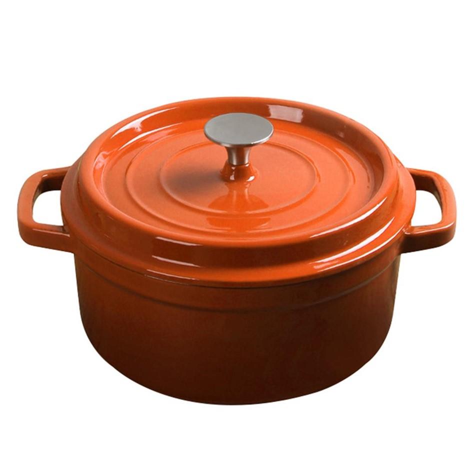 SOGA Cast Iron 26cm Enamel Porcelain Casserole Cooking Pot & Lid 5L Orange