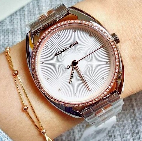 Ladies unworn Michael Kors couture NY 'Libby' luxury gemstone watch.