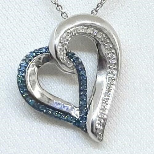 Beautiful Genuine Blue & White Diamond Heart Pendant and Chain.