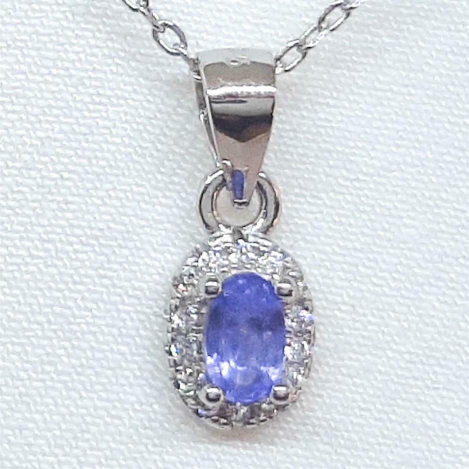 Glorious Genuine Cornflower Blue Sapphire Pendant & Chain.