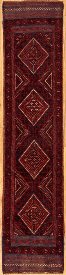 Handknotted Pure Wool Persian Baluchi Runner - Size 247cm x 56cm