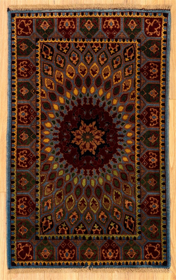 Handknotted Pure Wool Fine Afghan Chobi Rug - Size 130cm x 80cm
