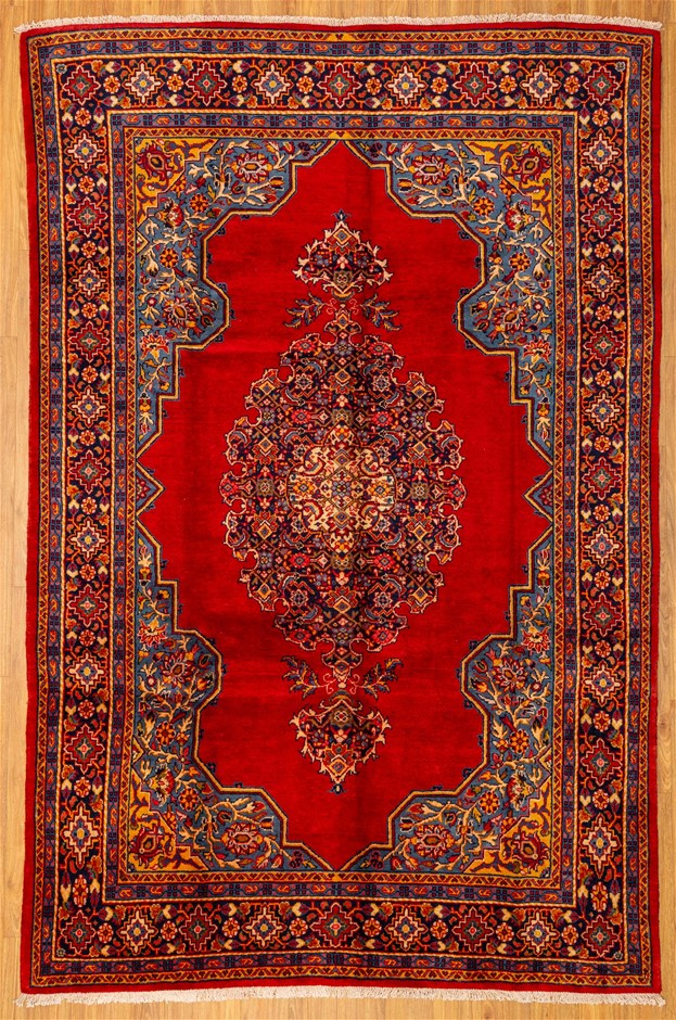 Handknotted Pure Wool Persian Kerman Rug - Size 342cm x 224cm