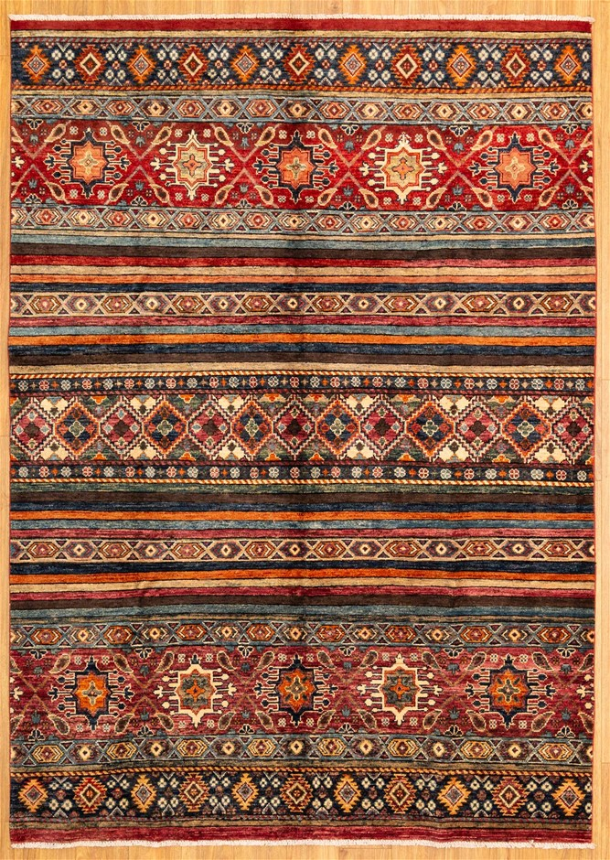 Handknotted Pure Wool Fine Afghan Chobi Rug - Size 260cm x 186cm