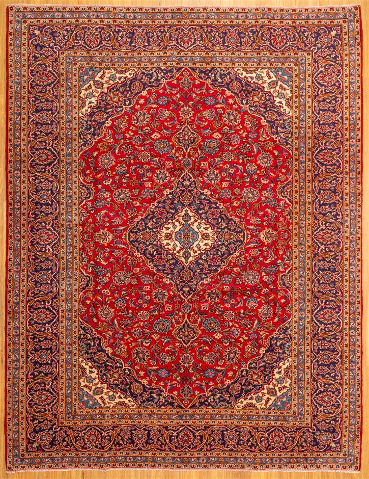 Handwoven Pure Wool Persian Kashan Rug - Size 393cm x 273cm