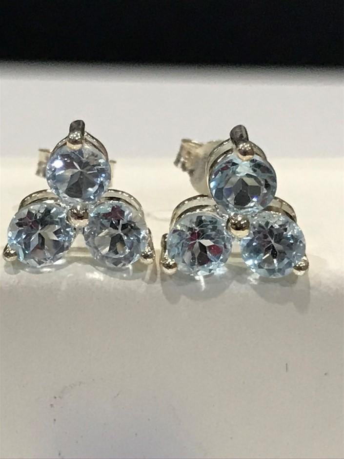 Glorious Three stone Genuine 1.80ct Blue Topaz Earrings