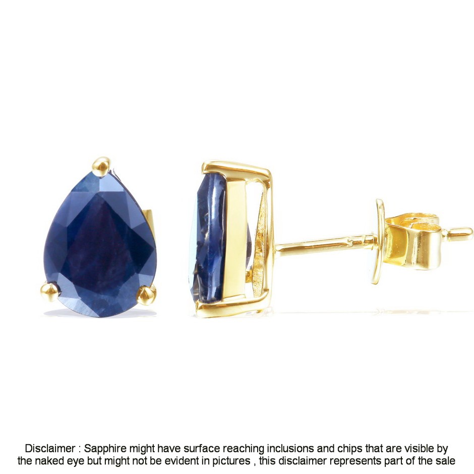 9ct Yellow Gold, 2.50ct Blue Sapphire Earring