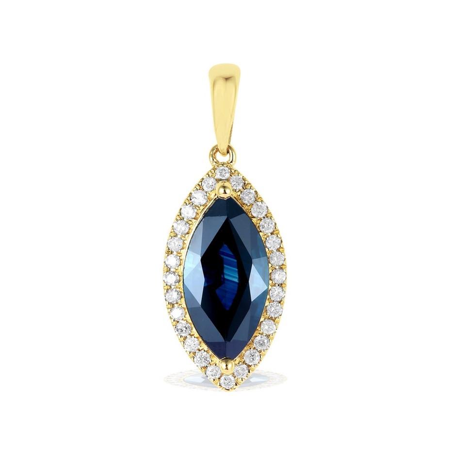 9ct Yellow Gold, 1.09ct Blue Sapphire and Diamond Pendant