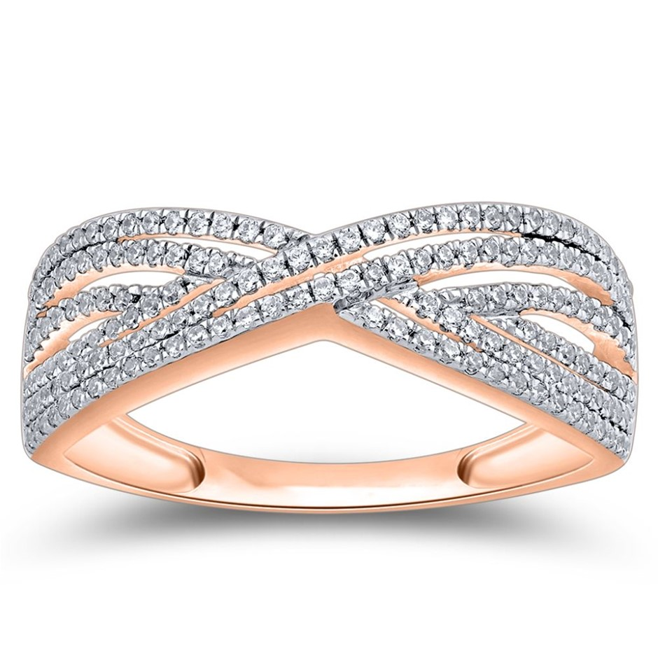 9ct Rose Gold, 0.21ct Diamond Ring